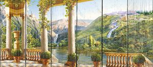 Терраса с видом на живописный парк