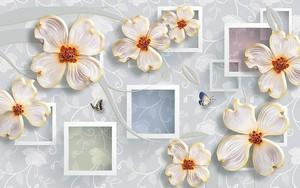 Большие белые абстрактные цветы