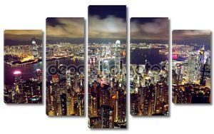 Гонконг ночью сверху