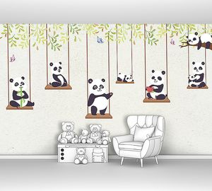 Маленькие панды на качелях