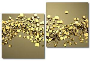 Абстрактные золотые кубы