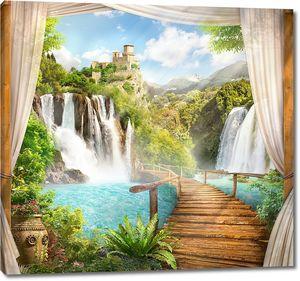 Вид на водопад и замок