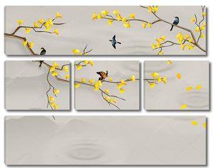 Птицы на ветках с желтыми цветами