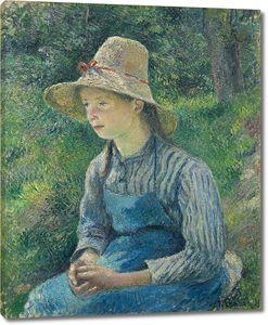 Камиль Писсарро. Юная крестьянка в  соломенной шляпе