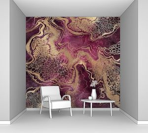 Розовая акварельная текстура с золотыми жилами