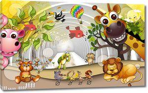 Различные животные и тоннель