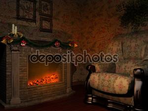 Комната с камином Рождество