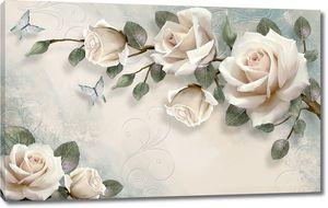 Розы на ветке с бабочками