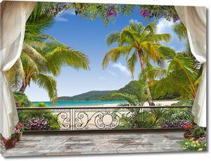 Терраса с ажурной решеткой с видом на море