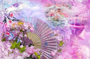 Абстракция в розовом цвете с веером