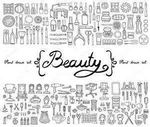 Векторный набор с нарисованными вручную изолированными каракулями косметики и символами красоты. Эскизы для использования в дизайне