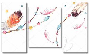 Украшения из разноцветных перьев на веревке и цепочке