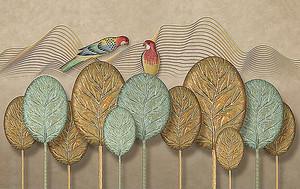 Попугаи на абстрактных деревьях