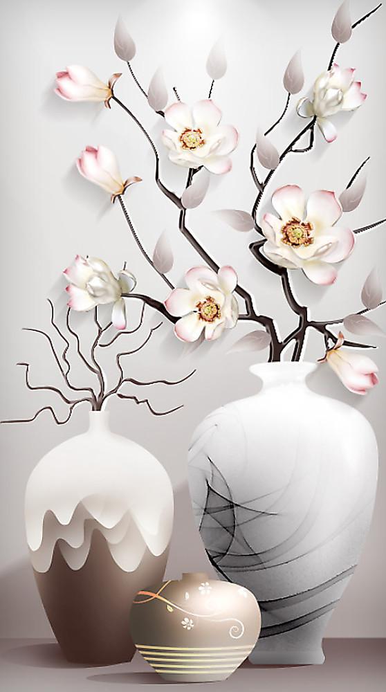 Фотообои «Три вазочки с сакурой», купить в интернет-магазине «Первое Ателье»™