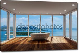 современная ванная комната с большой эркер