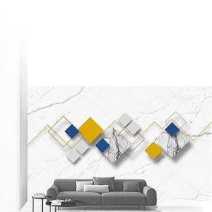 Белый мраморный фон, разноцветные ромбы