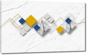 3d иллюстрация, белый мраморный фон, разноцветные ромбы