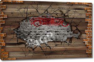 Деревянная стена с  ретро авто