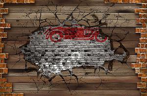 Фон деревянной стены с штампом ретро авто