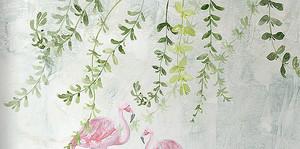 Зеленые ветви и фламинго