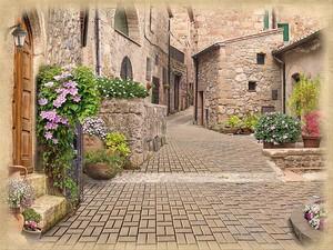 Кирпичная улица с цветами в горшках