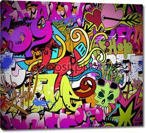 Граффити на стене в стиле хип-хоп