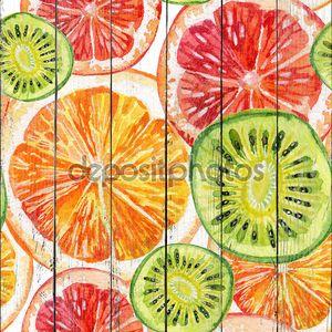 Акварель набор свежий апельсин, киви и грейпфрут