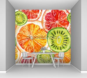 Апельсин, киви и грейпфрут