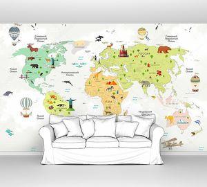 Карта с разноцветными континентами