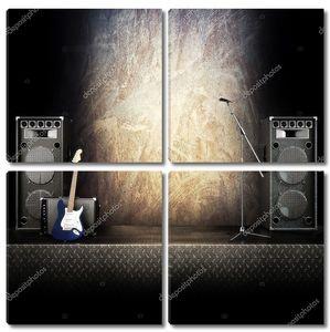 хэви-метал музыки стадии или пение фон