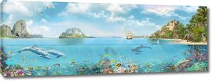Лазурная бухта с дельфинами