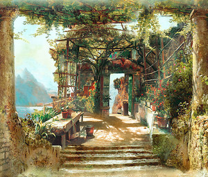 Прекрасная терраса с цветочным садом