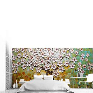 Цветущая вишня на пестром фоне