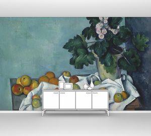 Поль Сезанн. Натюрморт с яблоками и горшком первоцветов
