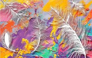 3d иллюстрация, яркий пятнистый фон ткани, большие белые перья