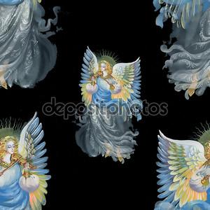 красивые ангелы с крыльями бесшовный фон