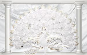 Шикарный белый павлин