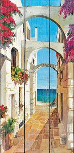 Солнечный пейзаж улочки в Греции
