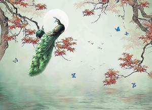 Павлин с зеленым хвостом
