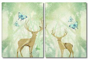 Силуэты двух оленей, сказочный лес на заднем плане, синие бабочки