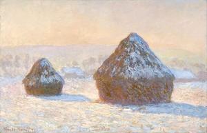 Моне Клод. Стога сена, утро, снег, 1891