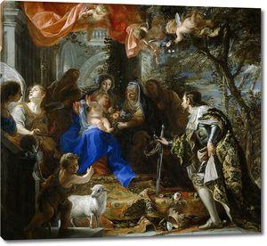 Коэльо Клаудио. Мадонна с младенцем с поклоняющимся св Людовиком Французским