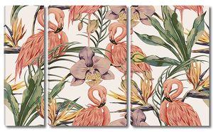 Фламинго с ирисами
