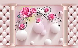 Выпуклые круги и розы в проеме колонн