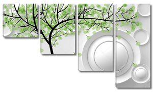 Дерево с зелеными листьями, белые круги