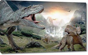 Динозавры у водопада