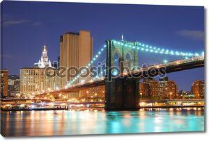 Бруклинский мост в Нью-Йорке Манхэттене
