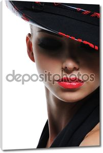 Женщина с ярко красный сексуальные губы