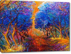 Аллея с голубыми деревьями