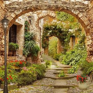 Разрушенная живописная улочка с цветами